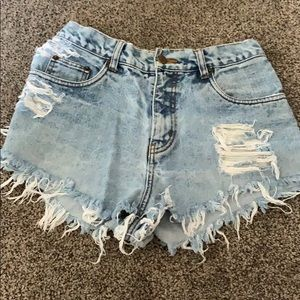 Distressed + high waisted jean shorts
